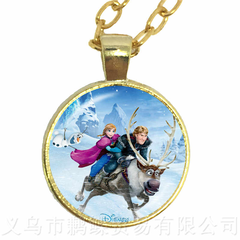 Senhoras marca A Longo da Cadeia de Jóias Colar de Pingente de Colar Cabochon De Cristal Princesa Snow Queen Elsa Anna Para Meninas