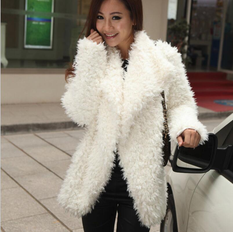 Womens Loose Faux Warm Fur Knitted Cardigan Sweaters Cashmere Blend Coat Outwear