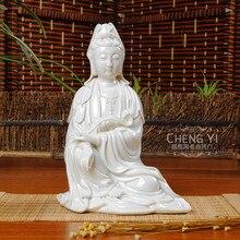Kuan yin 7-inch ceramic ornaments Dehua white porcelain pottery, covered sitting goddess figurines