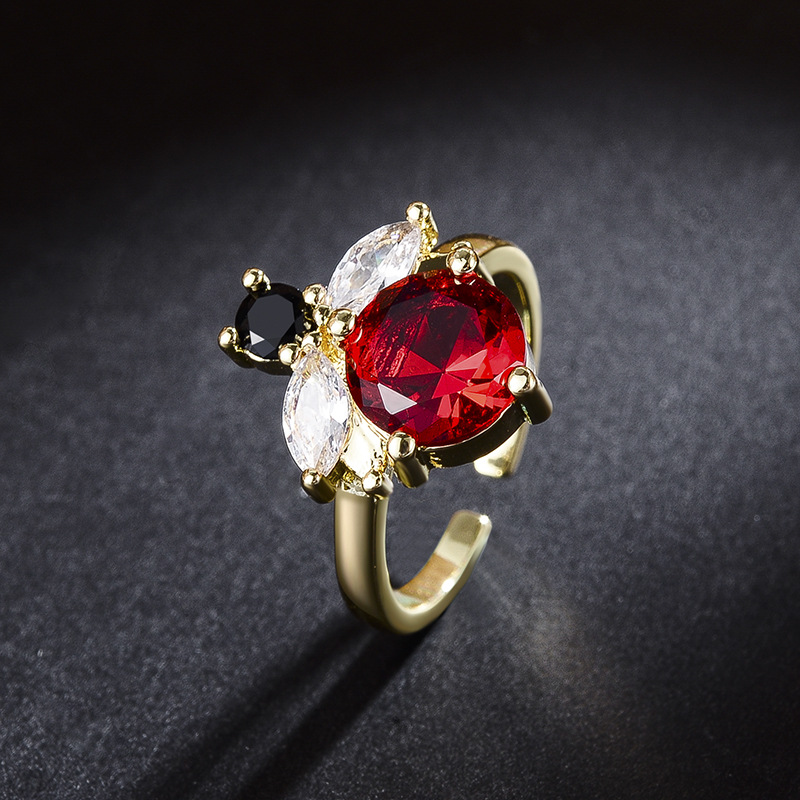 Bee Series Top Anillo Rings Antique Mosaic AAA Red Zircon Crystal Adjustable Free Ring For Women Finger Luxury Bijoux