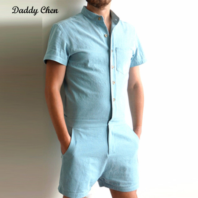 9efdbbfaf0f Autumn Short Sleeve Mens Rompers Male Single Breasted Jumpsuit Cargo Short  Pants Trousers Overalls Work Clothing