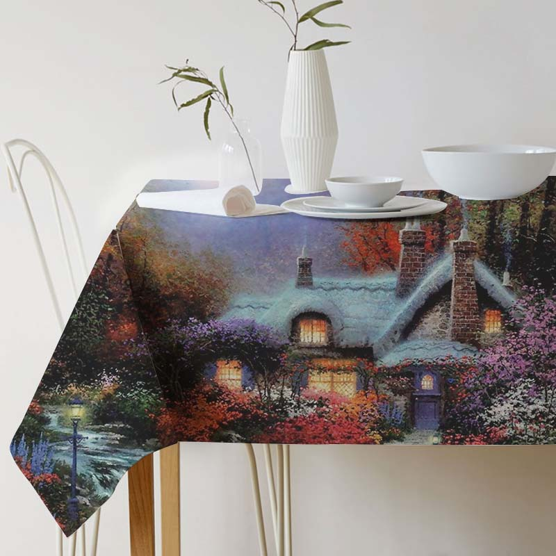 Thomas Kinkade Painting Art Tablecloth for table Cotton Linen Decorative table cloth Dining Table Cover For Kitchen Home Decor