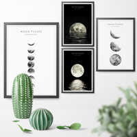 Nordic Lunar Night Moon Phases Canvas Art Posters And Prints Canvas Painting Wall Art Pictures Home Decor Wall Sticker No Frame