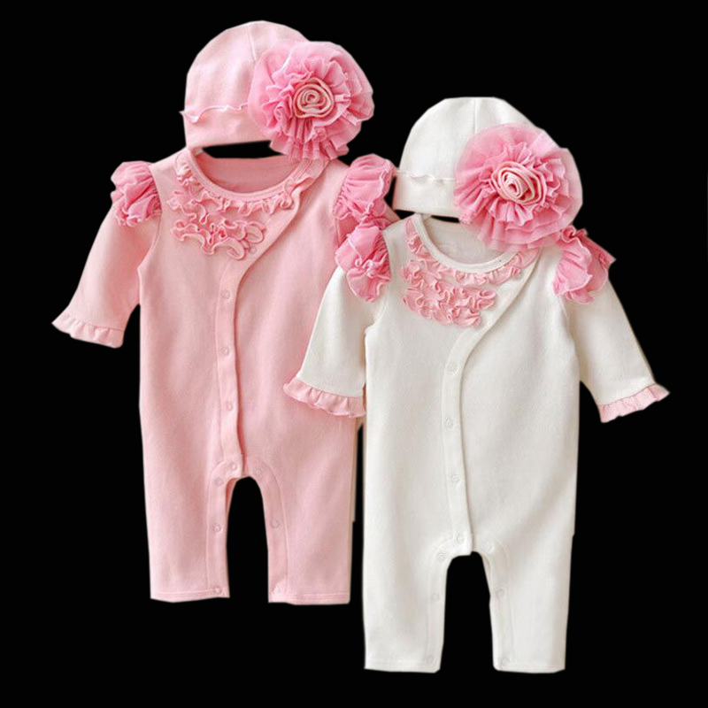 2017 New Baby Girls Princess Clothing Lace Long Sleeve Romper Hat Set Lovely Newborn Infant Cotton Jumpsuits Overalls Outerwears lovely 2017 baby girls infant rompers long sleeve jumpsuits ruffles princess girl sweet knitted overalls infant romper 9 36m