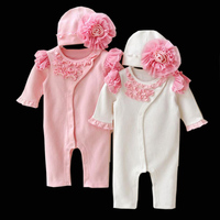 2017 Nieuwe Baby Meisjes Prinses Kleding Kant Lange Mouw Romper Hoed Set Mooie Pasgeboren Baby Katoen Jumpsuits Overalls Outerwears