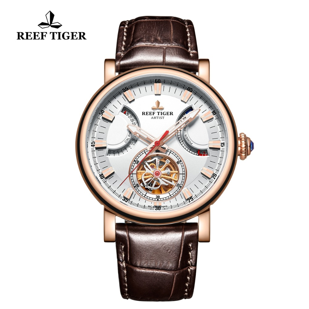 Reef Tiger RT Automatic Watch for Men White Dial Leather Strap Watch with Date Day RGA1950