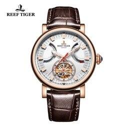 Reef Tijger/RT Automatische Horloge voor Mannen Witte Wijzerplaat Lederen Band Horloge met Datum Dag RGA1950-in Mechanische Horloges van Horloges op