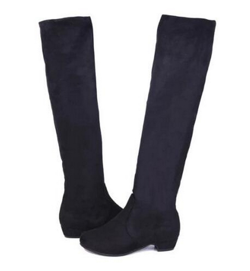 Perfect Fashion Woman Knee High Boots 2017 Leather Shoes Long Boots Thick Heels Zip Casual Shoes Womenu0026#39;s ...
