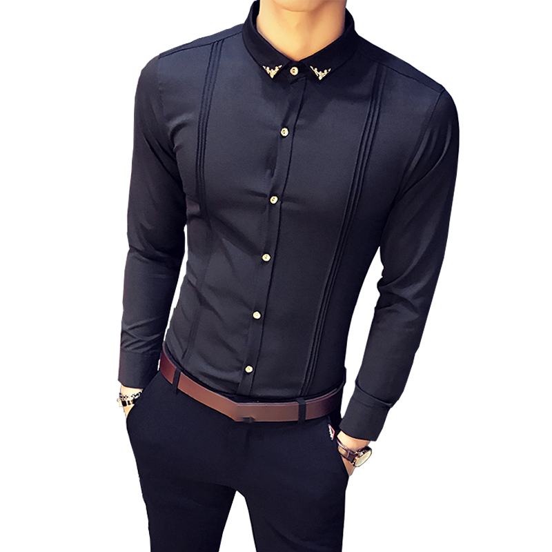 2019 New Men's Fashion Boutique Metal Decorative Solid Color Casual Long-sleeved Shirt White Black Red Blue Male Slim Shirts