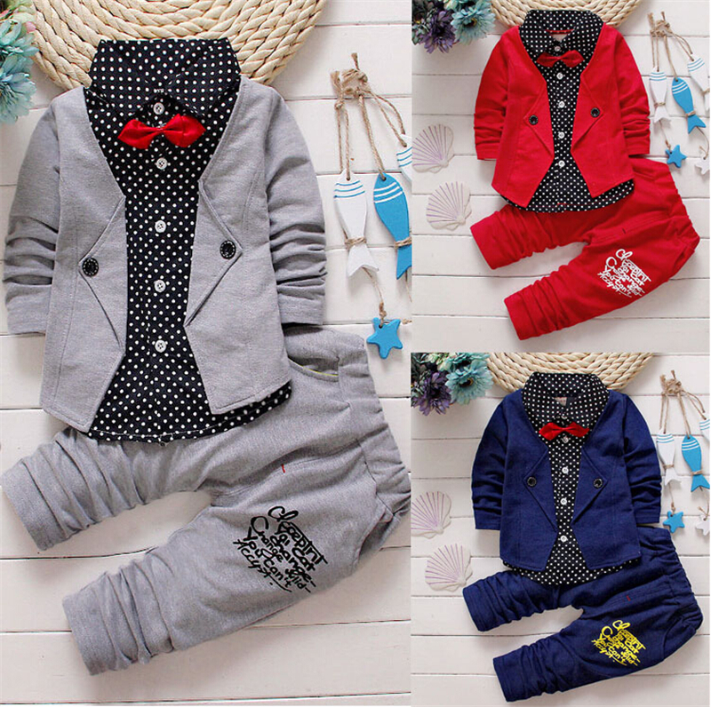 Emmababy 3pcs Toddler Baby Boys Clothes Kids Shirt Tops+Long Pants Outfits Gentleman Clothing Set