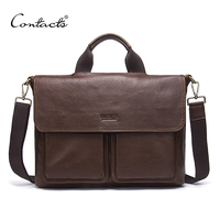 CONTACT'S Genuine Leather Men Briefcase Luxury Brand Fashion Laptop Bag Men's Business Bags Casual Leather Messenger Bag for Men