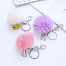 Hot Selling Key Chain Candy Color Dog Ring with Fashion Rabbit Pom Fur Ball Best Gift for Girfriend  KC004