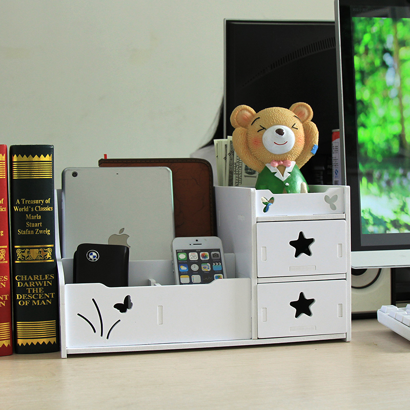 Large drawer-style cosmetics storage box desk mobile phone sundries storage rack plastic storage forcer finishing cabinet