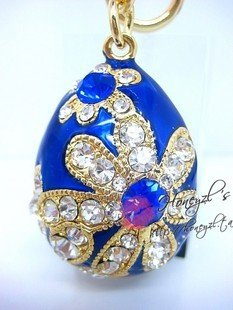 2010 fashion hot sell Egg blue flowers key Chain free shipping  Wholesale 20pc/lot  /mix order