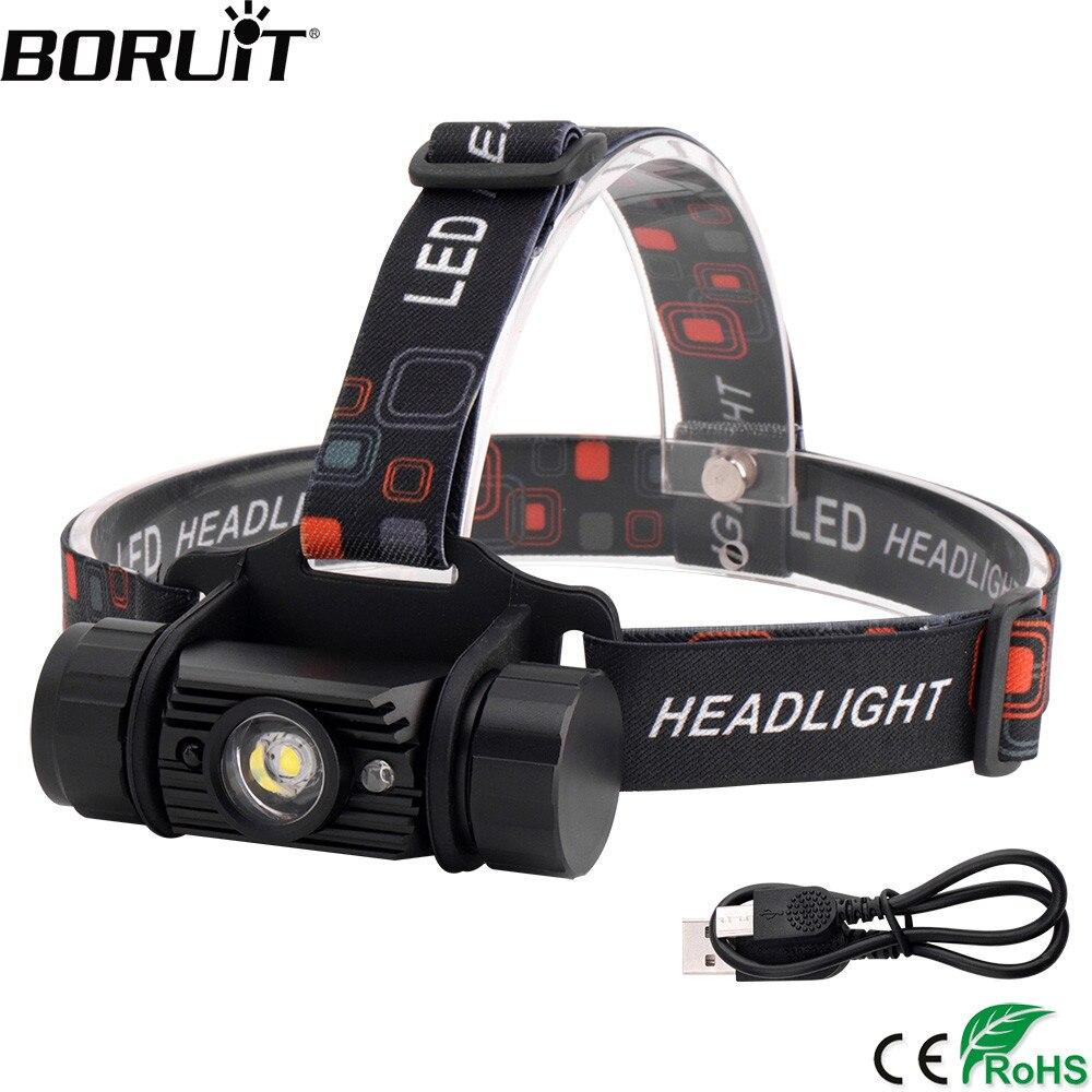 BORUiT RJ-020 3 W IR Sensor Mini linterna cargador USB Headlamp18650 batería linterna impermeable Camping caza linterna de cabeza