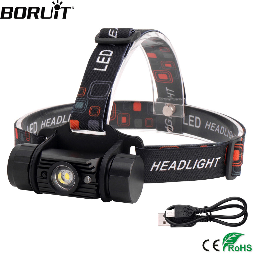 BORUiT RJ-020 3W IR Synhwyrydd Mini Headlight USB Charger Headlamp18650 Flashlight Batri Gwersylla gwrth-dd ˆwr Hela Head Tortsh
