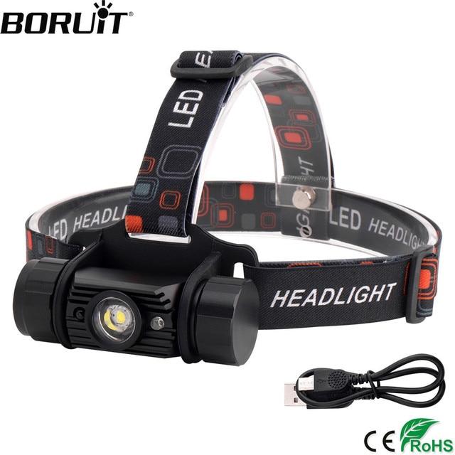 BORUiT RJ-020 3W IR Sensor Mini Headlight USB Charger Headlamp18650 Battery Flashlight Waterproof Camping Hunting Head Torch