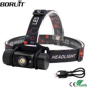 Image 1 - BORUiT RJ 020 XPE LED indüksiyon far 1000LM hareket sensörü far 18650 şarj edilebilir baş feneri kamp avcılık el feneri