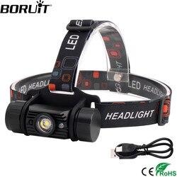 BORUiT T6 LED Induction Mini phare 1000LM capteur de mouvement phare 18650 Rechargeable tête torche Camping chasse lampe de poche