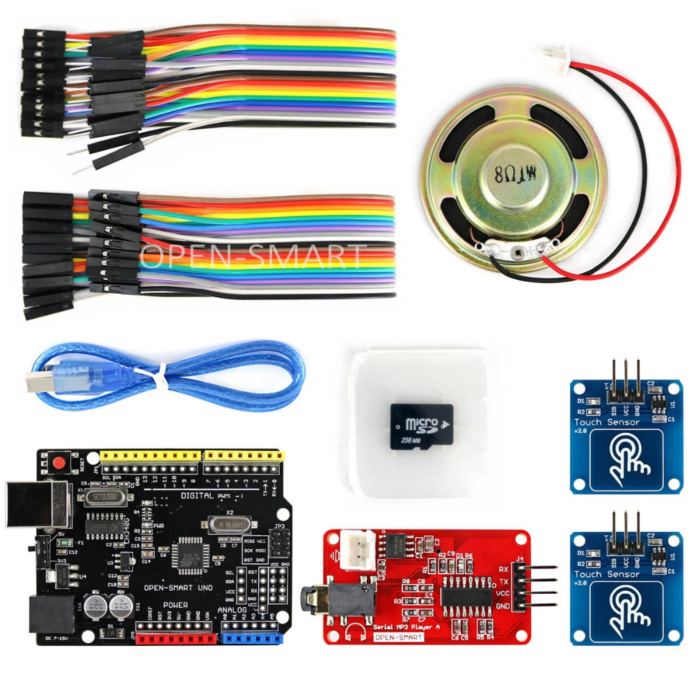 OPEN-SMART MP3 Player Kit With UNO R3 Board Micro SD Card Touch Sensor Module MP3 Module And Speaker Kit For Arduino UNO R3