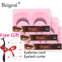 High Quality Natural Long False Eyelashes 3 Pairs Soft Fake Eyelashes Extension Lashes Tools Eyelash Curler Beigeai Brand Makeup