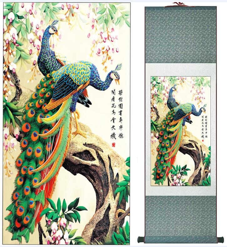 Super quality  traditional Chinese Art Painting Home Office Decoration Chinese painting peacockPrinted painting