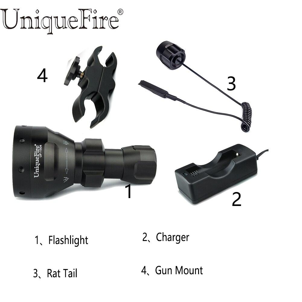 UniqueFire 1504 IR 850nm Lampe de poche LED infrarouge 67mm lentille 3W Lampe Torche puissante + pression à distance + support de portée + chargeur