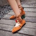 Las mujeres Atan Para Arriba la Bola Superior de piel de Oveja En Punta de Verano Retro Sandalias de Cuero Real Casul Zapatos de La Señora 20170203