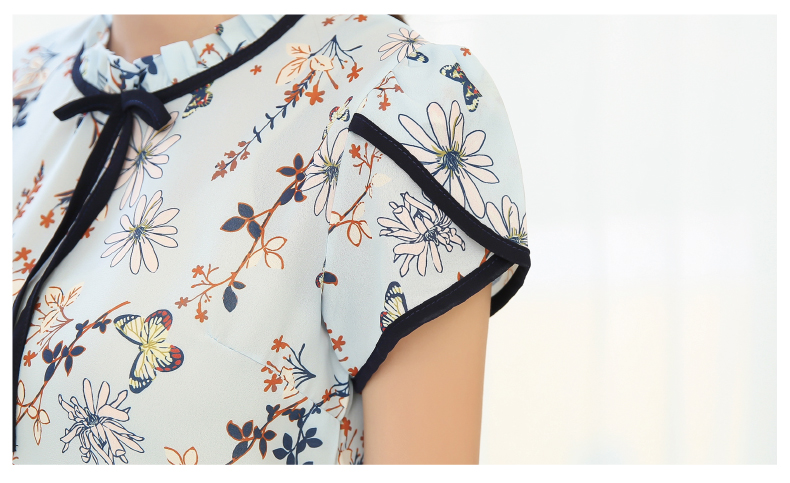 HTB16gu0PVXXXXctXXXXq6xXFXXX8 - Summer Floral Print Chiffon Blouse Ruffled Collar Bow Neck Shirt