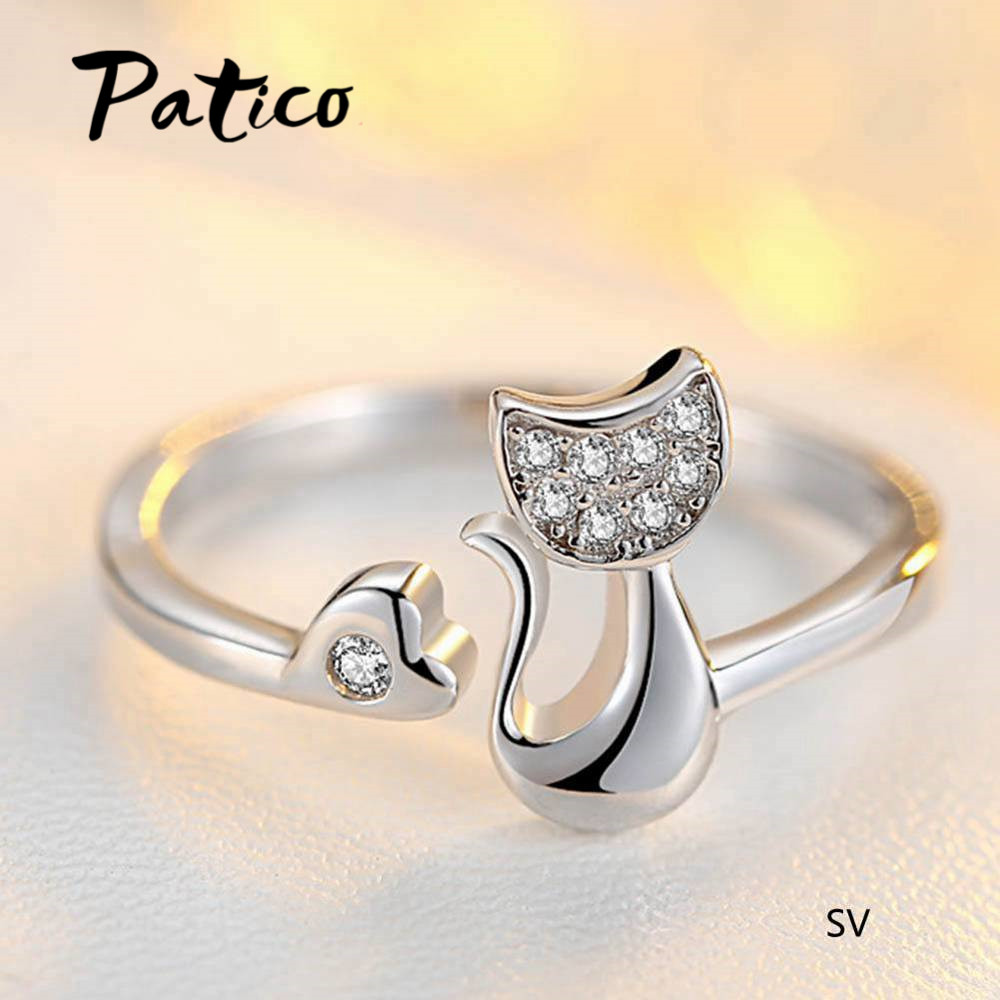 Latest Fashion Cute Cat Finger Rings for Women Girls Gifts aaa Cubic Zircon Stone Inlay Paved Wedding Bands Jewelry thumbnail