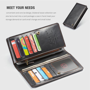 Image 3 - CaseMe Universal Leather Wallet Case For iPhone XR XS Max X 8 7 6S 5 SE For Samsung Note 9 8 S9 Card Zipper Wallet Phone Bag