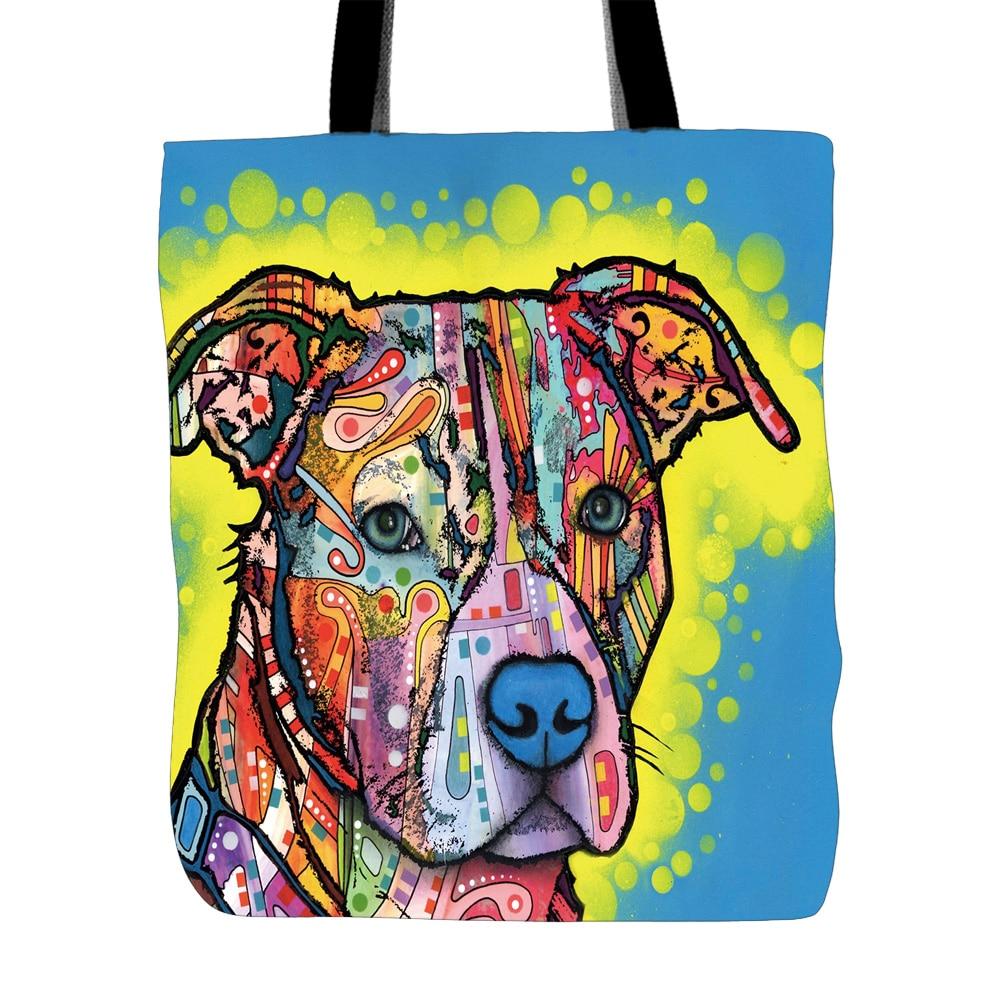 Personliga dumma tygpåsar för katt och hund Canvas Bild ditt husdjur Custom Shop Strandgåvor Beagle Djurvän Färgrik tygväska