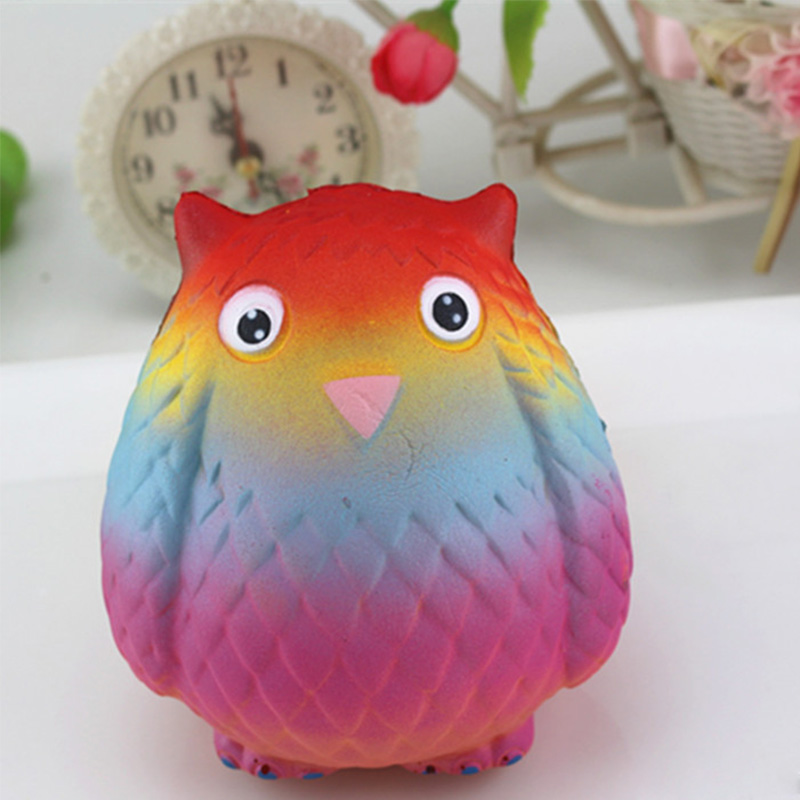 Jumbo Elastic Soft PU Squishy Slow Rising Anti-stress Kawaii Squishies Rainbow Owl Squeeze Kids Toy Charm Lanyard Strap