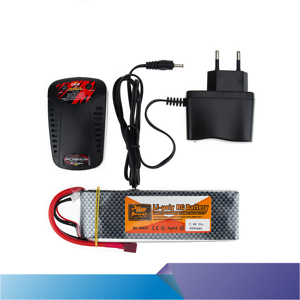 все цены на ZOP Lipo Battery 7.4V 6000MAH 25C 2S T XT60 With Smart Charger Set For RC Drone Models Helicopters Airplanes Cars Boat Batteria