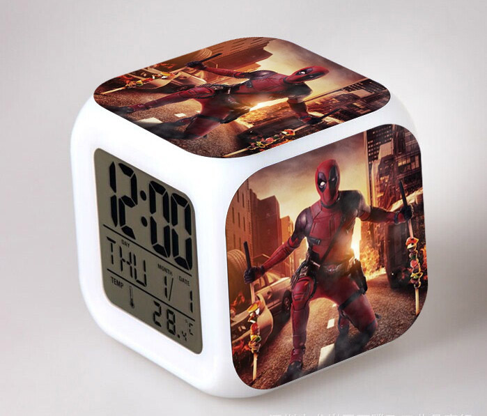 Anime Alarm Clock Led Light 7 Color Change Deadpool Action Figure Orologio Digitale Watch Desk Plastic Digital-Watch Klokken C11