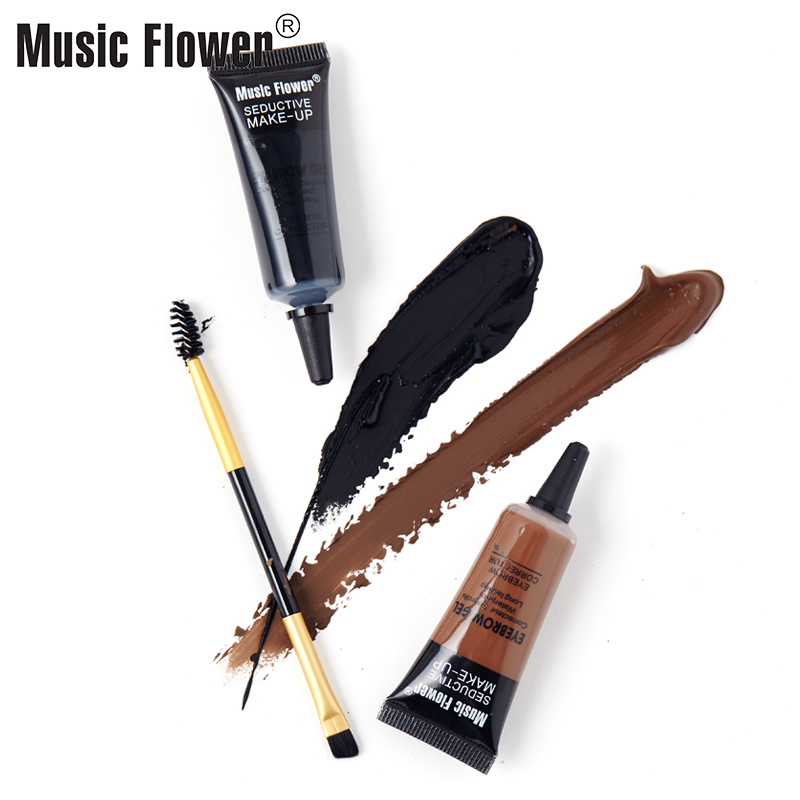 Music Flower Eye Makeup 2 color Eyebrows Gel Soft Smooth Water-proof Long-wear Texture Eye Brow With Brush Women Cosmetics