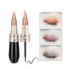 Двойные концы 2 в 1 тени-карандаш Черная Подводка для глаз Ручка быстро сухой женский макияж для глаз Косметика
