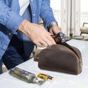 Image 5 - CONTACTS kosmetyczka mała dla mężczyzn skóra crazy horse vintage opakowanie na przybory do makijażu czarna torba podróżna ręczne torby do zmywania męskie