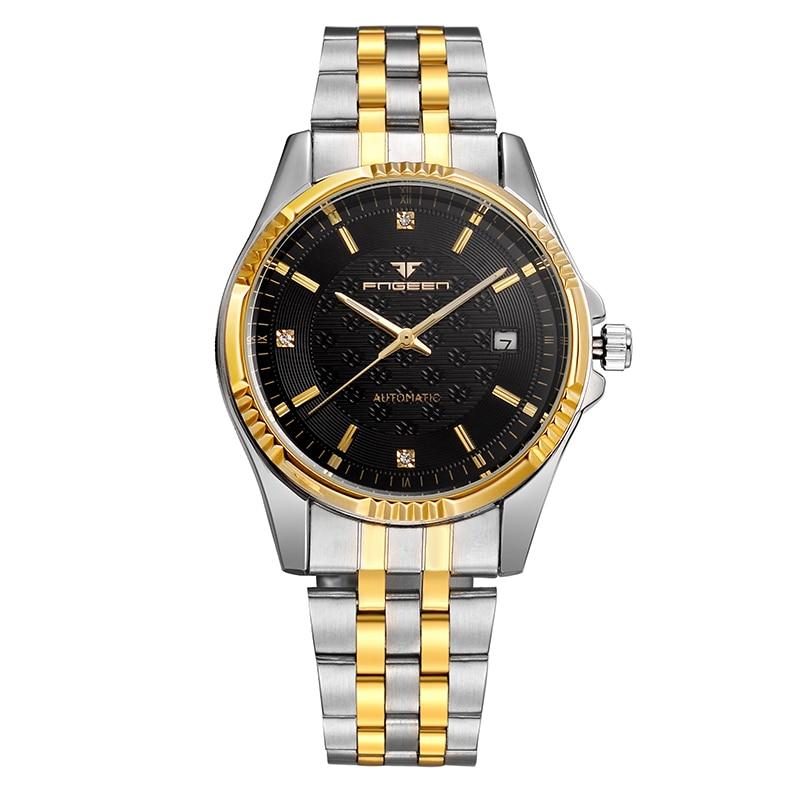 Автоматические механические часы Для мужчин FNGEEN бренд Бизнес часы с двумя тон IP покрытие полосы Diamond Dial Нержавеющаясталь браслет