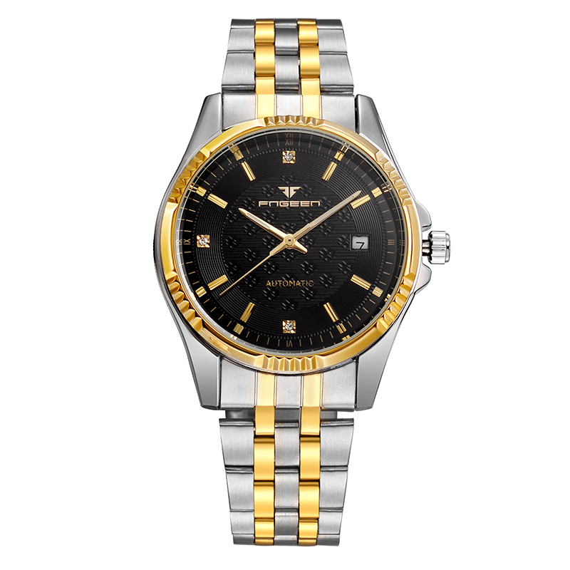 Automatic Mechanical Watch Men FNGEEN Brand Business Watch With Two Tone IP Plating Band Diamond Dial Stainless Steel bracelet