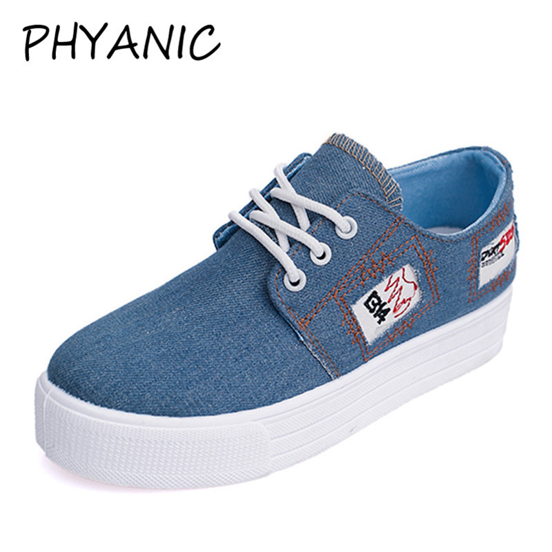 PHYANIC 2018 Summer Women Flats Casual Lace-up Shoes Vintage Denim Breathable  Light Leisure Ladies Sneakers For Woman CFY3194 phyanic summer gladiator sandals 2017 bling glitter platform shoes woman casual beach creepers women flats shoes phy4042