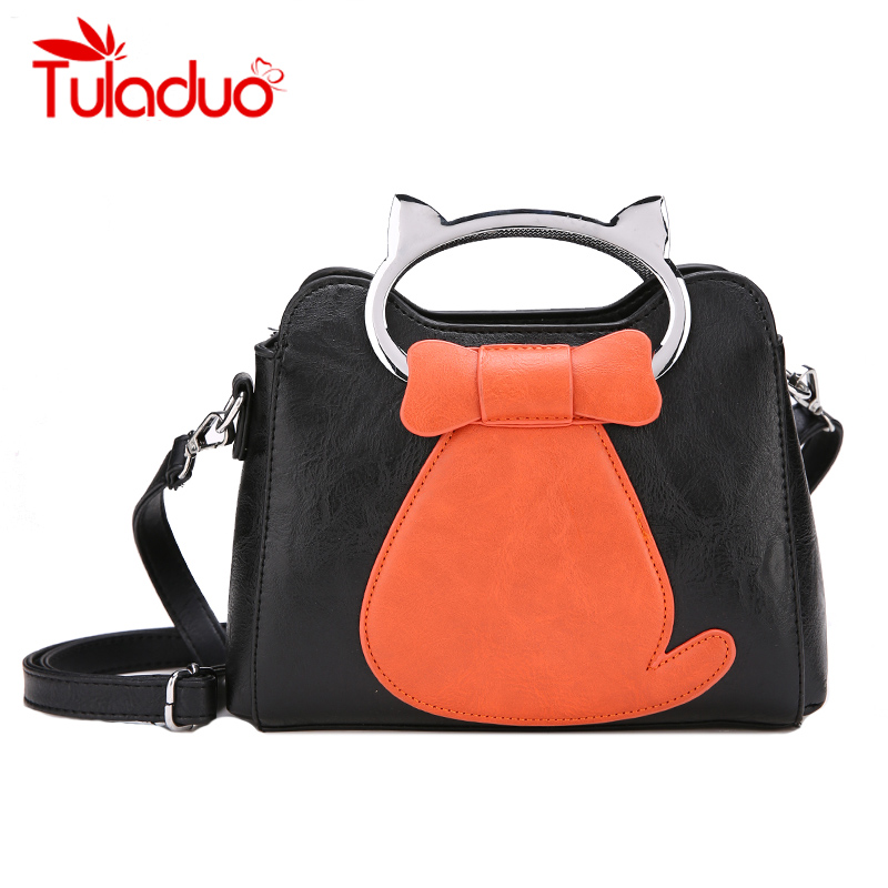 Cat Women Crossbody Bags Designer Cartoon Printed Handbag Cute Female Messenger Bag Fashion Panelled Totes Luxury PU Leather