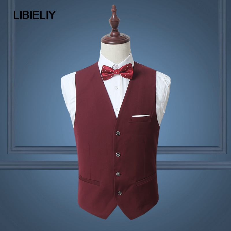 Red Classy Men Suit Vest Solid Black White Single Breasted Slim Dress Business Waistcoat Mens Dance Party Wedding Vests M-2XL