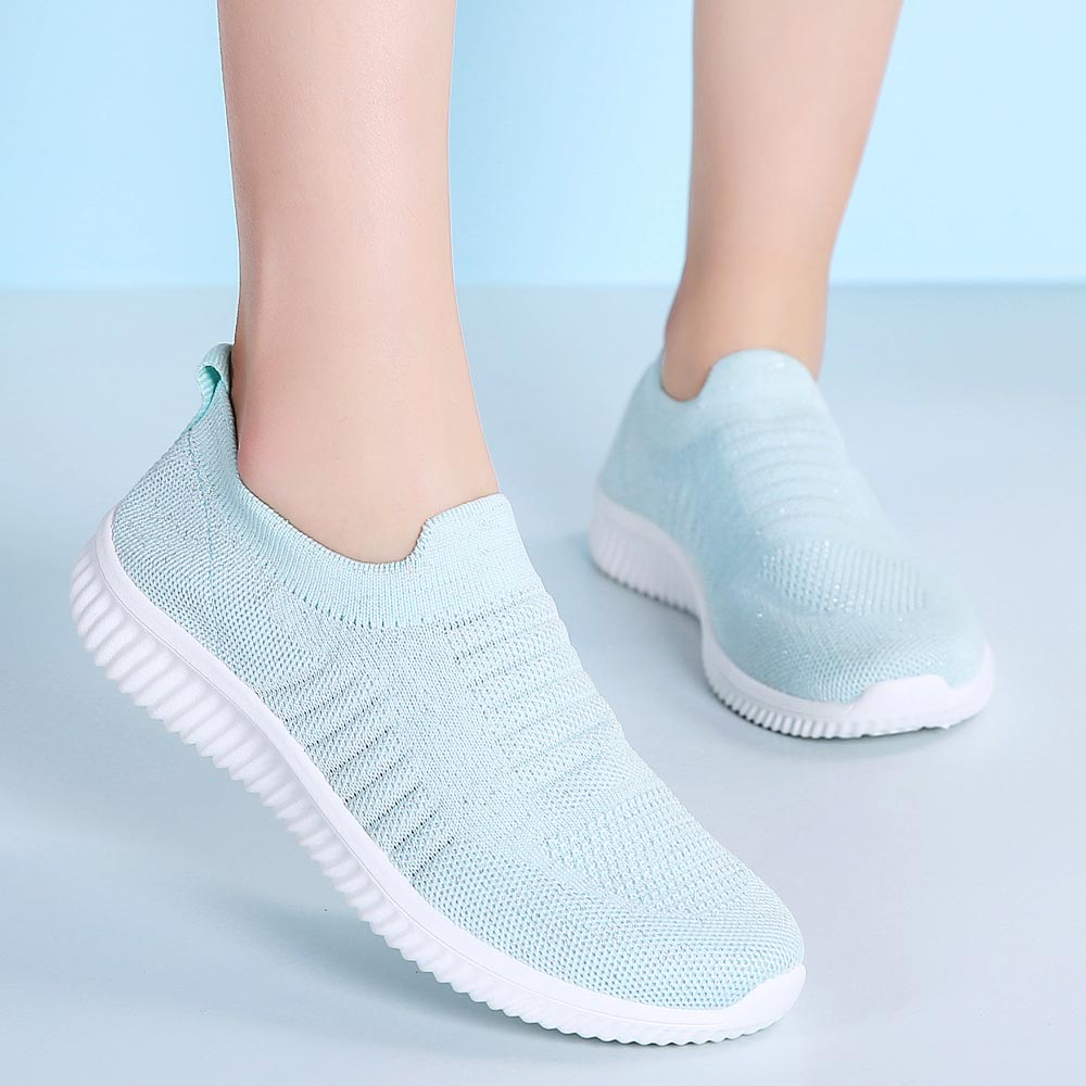 Large Size Slip On Socks Sneakers Summer Tennis For Woman Light Weight Sport Shoes For Women Blue Running Shoe Sports Walk B-325
