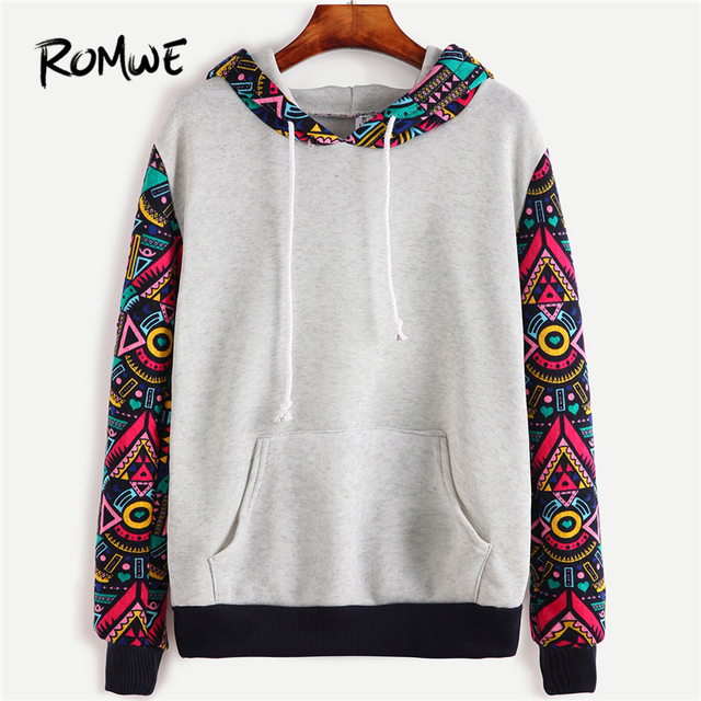 92c472d44 US $13.74 45% OFF|ROMWE Tribal Hoodies Sweatshirts Geometric Print Women  Pullover Tracksuit Contrast Sleeve Hooded Sweatshirt With Kangaroo  Pocket-in ...
