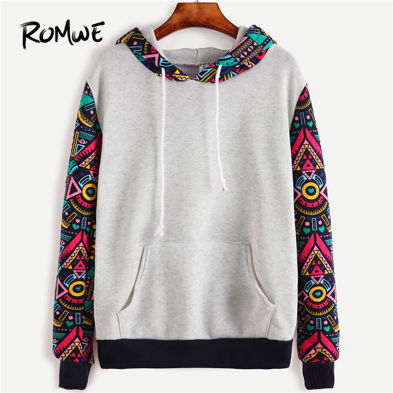 ROMWE Tribal Hoodies Sweatshirts Geometric Print Wo