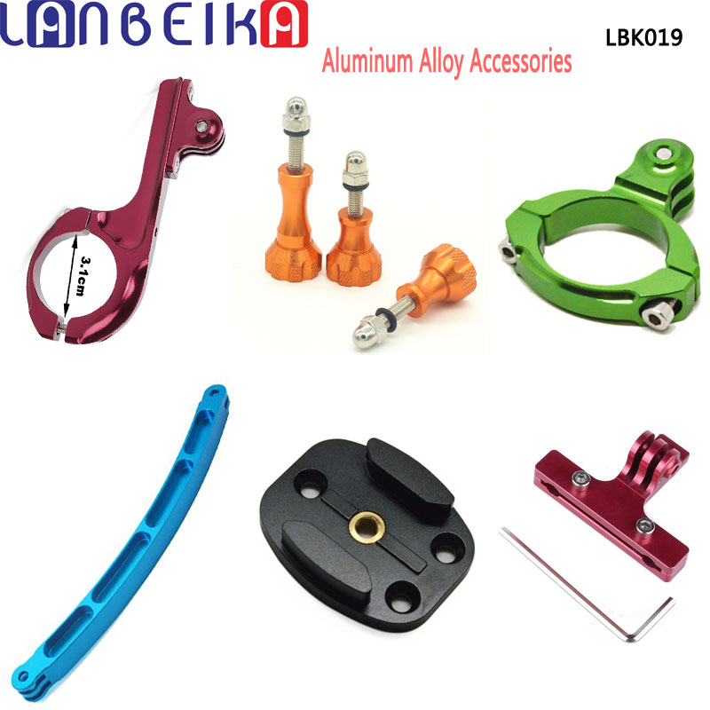 LANBEIKA Aluminum Bike Saddle Seat Rail + Handlebar + Helmet Extension Arm + Flat Surface Mount  + Screw For Gopro 6 5 4 SJCAM