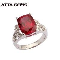 Красный рубин кольцо стерлингового серебра S925 серебро Для женщин обручальное кольцо создания рубин в 9 мм * 12 мм темно-красный и Одежда высше...