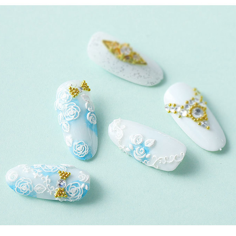 Image 2 - 5D Acrylic Engraved nail art sticker white  Various shapes  flowers Template Decals Tool DIY Nail Decoration Tools Z0134-in Stickers & Decals from Beauty & Health
