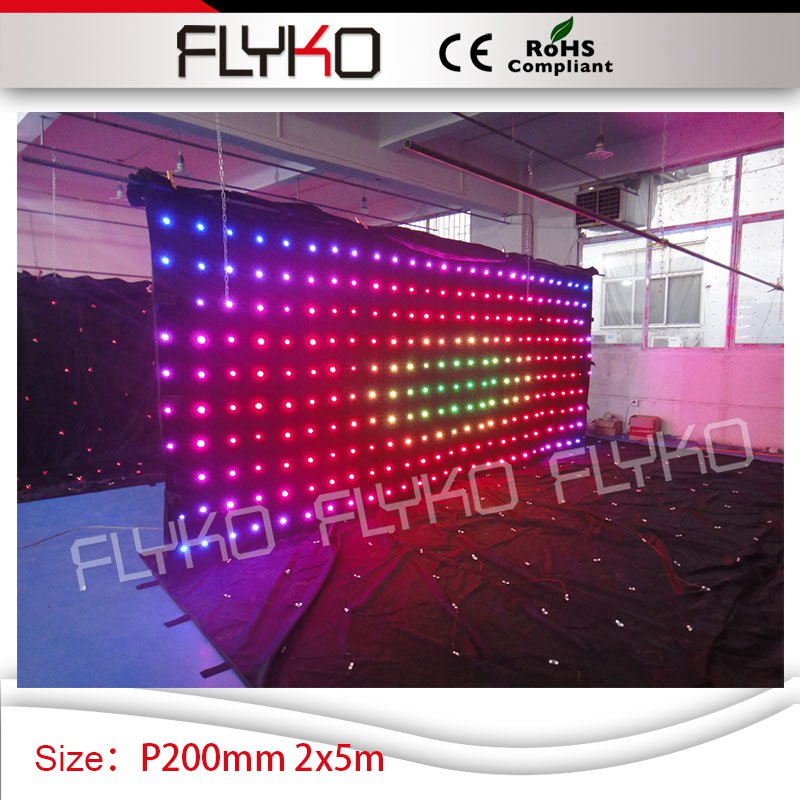 2*5m ktv club shop decoration P200mm high quality led lighting screen video curtain